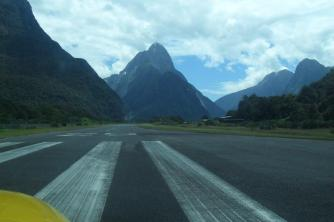 Lined up and ready2. Runway 29. Milford Sound. Mel. Jan 10