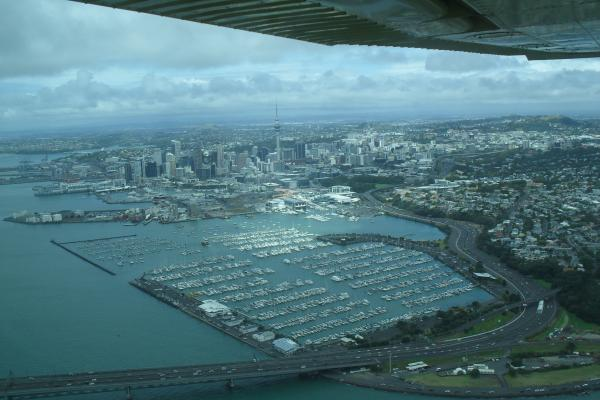 flying over auckland